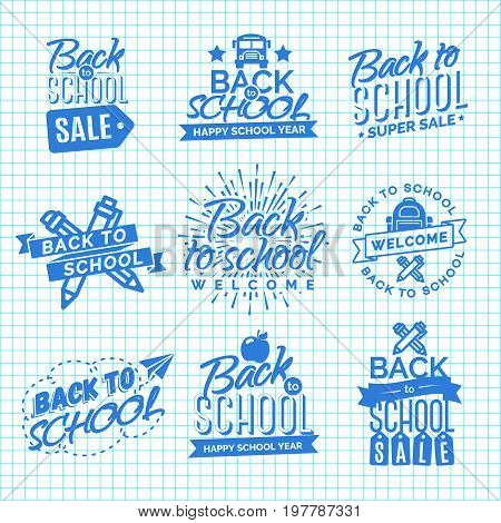 Set of Welcome back to school label with sunburst, ribbon, apple, school bag, pen, pencil and paper airplane isolated on checkered background. Back to school shopping. Super sale. Vector illustration.
