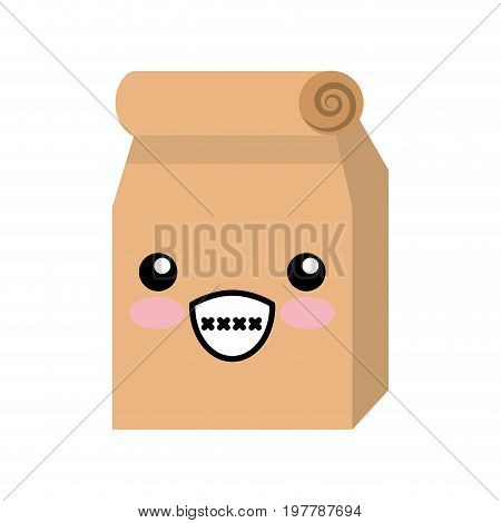 Lunch bag in paper bag kawaii character vector illustration design