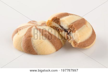 Cookies Or Butter Cookies White Chocolate On Background.