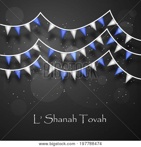 illustration of decoration with shanah tovah text on the occasion of Jewish New Year Shanah Tovah. Translation: a good year