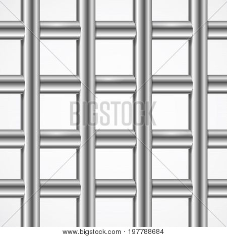 Vector Square Iron Cage Steel Prison or Jail Bars Isolated on White. 3d illustration. Punishment or Out of Freedom Concept