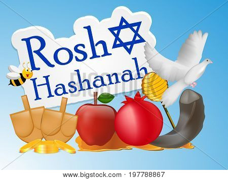 illustration of bee, pigeon, honey, apple, pomegranate, shofar with Rosh Hashanah text on the occasion of Jewish New Year Shanah Tovah.Translation: a good year