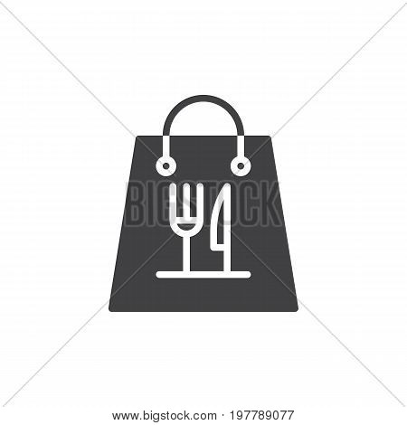 Take away paper food bag icon vector, filled flat sign, solid pictogram isolated on white. Symbol, logo illustration. Pixel perfect vector graphics