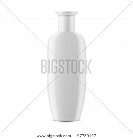 White glossy plastic bottle for shampoo, shower gel, lotion, body milk, bath foam. 250 ml. Realistic packaging mockup template. Front view. Vector illustration.