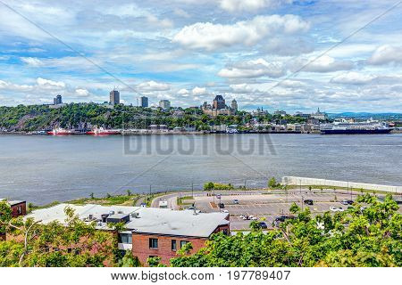 Levis, Canada - June 4, 2017: Cityscape And Skyline Of Quebec City With Saint Lawrence River And Boa