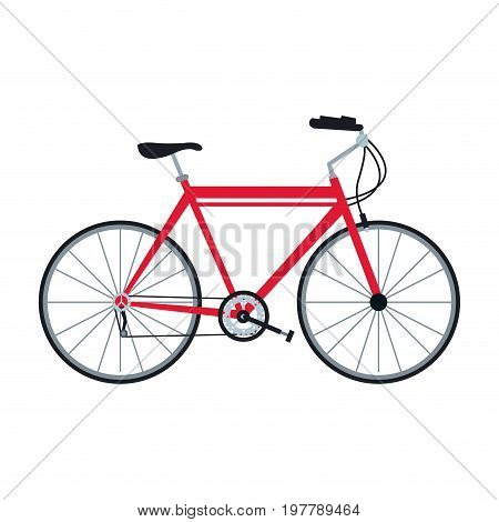 bicycle sport recreational transport wheel chain vector illustration