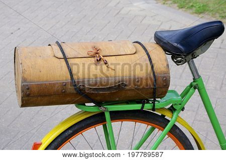 vintage wooden bicycle boot very interesting shape