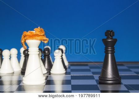 Chess As A Policy. White Figure With Red Hair With A Team Against A Lone Black Figure.