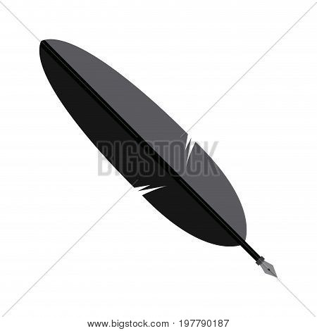 pen in the form of the bird feather vector illustration