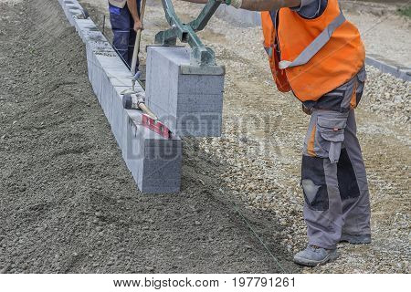 Installation Of Granite Curb, Vertical Curbing 2