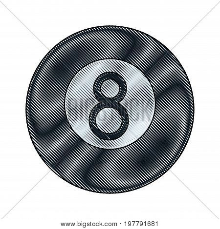 black billiard ball number eight sports equipment vector illustration
