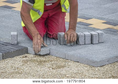 Paver Making Sidewalk