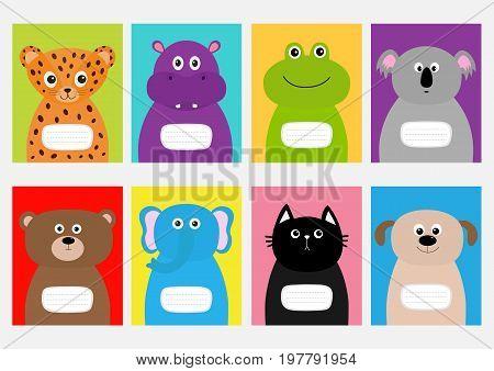 Notebook cover Cat dog jaguar hippopotamus elephant bear frog koala. Zoo animal face Cute cartoon character set Baby children education. Flat design White background. Isolated Vector illustration