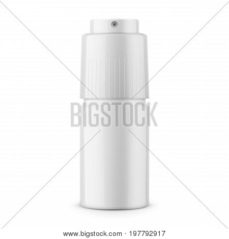 White glossy metal deodorant spray bottle. 40 ml. Realistic packaging mockup template. Front view. Vector illustration.