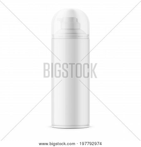 White glossy tin can for shaving foam or gel with transparent cap. 400 ml. Realistic packaging mockup template. Front view. Vector illustration.