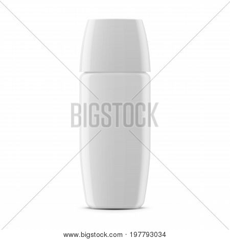 Square white glossy instant coffee jar with plastic cap. 100 g. Realistic packaging mockup template. Front view. Vector illustration.