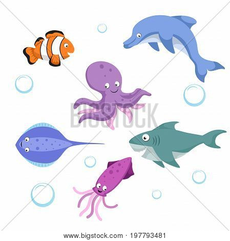Vector cartoon different sea and ocean animals set. Isolated vector illustration. Clownl fish octopus stingray shark dolphin cuttlefish.