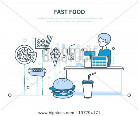 Fast food restaurant. People working in fast food. Service. Eating, drinks, order eating. Cashier with cash register in premise. Illustration thin line design of vector doodles, infographics elements.
