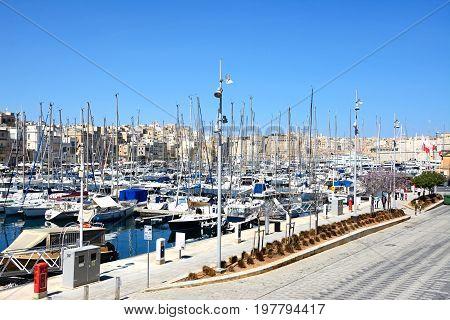 VITTORIOSA, MALTA - MARCH 31, 2017 - Elevated view of Vittoriosa waterfront and marina with views towards Senglea Vittoriosa (Birgu) Malta Europe, March 31, 2017.
