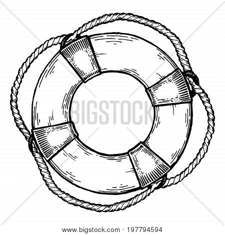 Life buoy engraving vector illustration. Scratch board style imitation. Hand drawn image.