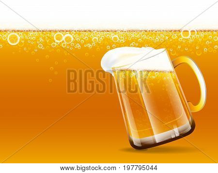 Background of beer and overflow beer glass with foam and bubbles. Vector illustration.