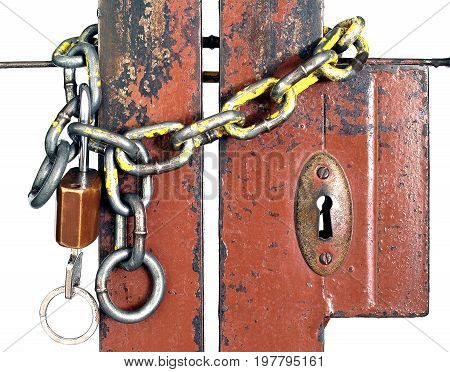 close up chain and key hang locked wrought iron gates isolated on white background