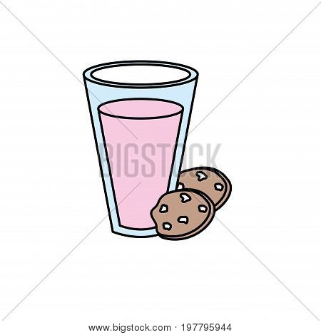 delicious yogurt with chocolate cookies vector illustration