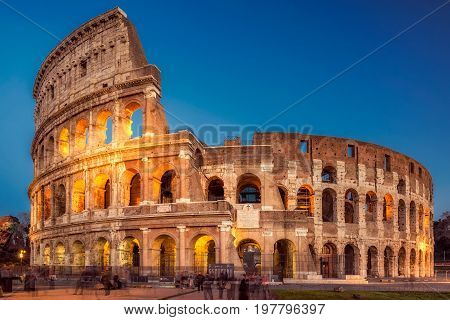 Colosseum at sunset, Rome. Rome best known architecture and landmark. Rome Colosseum is one of the main attractions of Rome and Italy