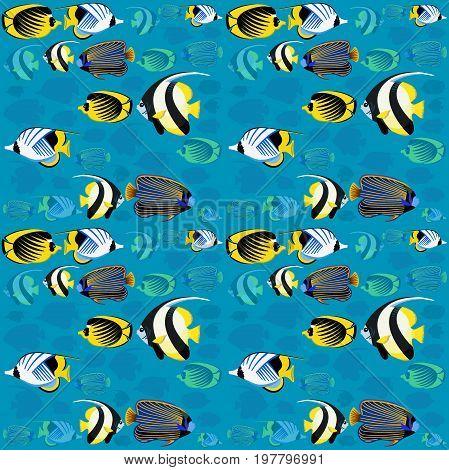 Sea fishes - marine ocean pattern. Underwater background