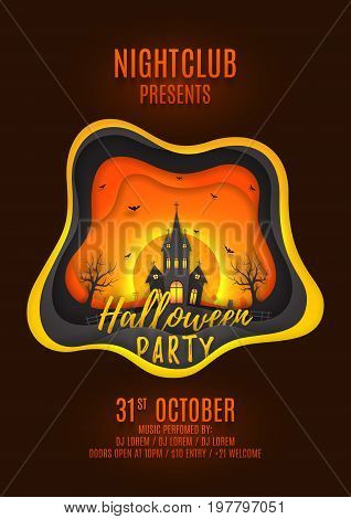 Halloween party poster design. Creative background with elements are layered separately. Paper art style vector illustration. Festive card with terrible castle and bats. Invitation to nightclub.