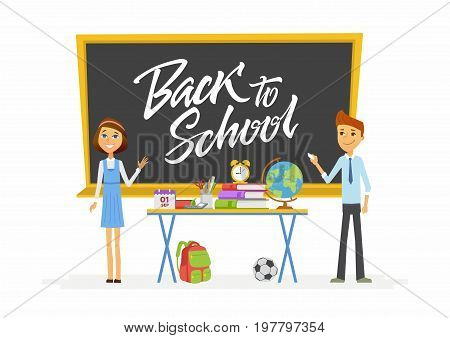 Back to school - modern vector people characters illustration of happy teenage boy and girl at blackboard over desk with hand written calligraphy chalk lettering. Senior students in classroom writing