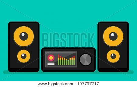 Home stereo flat vector music systems icon
