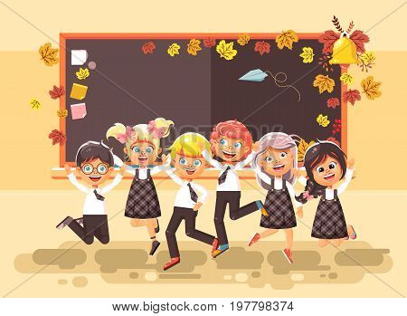 Stock vector illustration back to school cartoon characters schoolboys schoolgirls pupils apprentices happy classmates jumping in classroom at autumn blackboard September background flat style