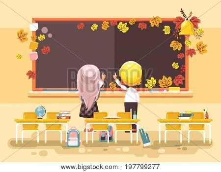 Stock vector illustration back to school cartoon characters schoolboy schoolgirl apprentices studying in empty classroom standing at staple with textbooks pupils write blackboard flat style background.