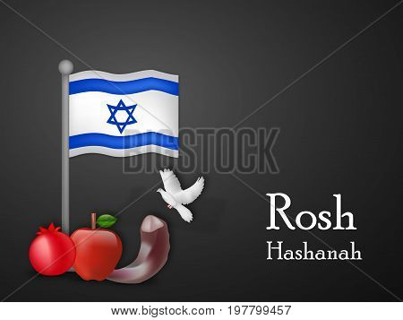 illustration of Israel flag, pigeon, apple, pomegranate, shofar with Rosh Hashanah text on the occasion of Jewish New Year Shanah Tovah