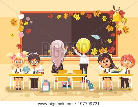 Stock vector illustration back to school cartoon characters schoolboy schoolgirls write on blackboard pupils apprentices studying in classroom sitting at staple with textbooks on flat style background.