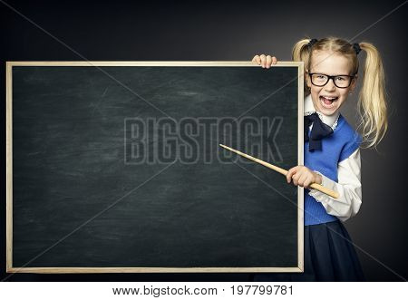 School Child with Pointer Kid Girl Peek Blackboard Learning and Education Advertisement