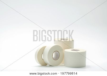 Various size of sport bandage tapes collection on white background