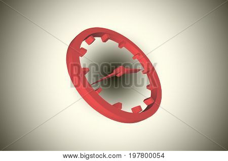 Clock with clock hands and dial symbol in 3 D as illustration before gradient background.