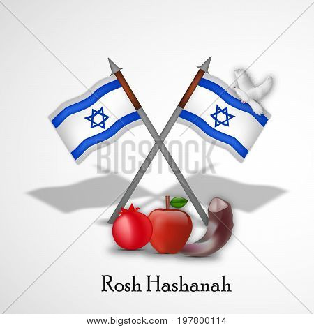 illustration of pigeon, apple, pomegranate, shofar and Israel flags with Rosh Hashanah text on the occasion of Jewish New Year Shanah Tovah . Translation: a good year