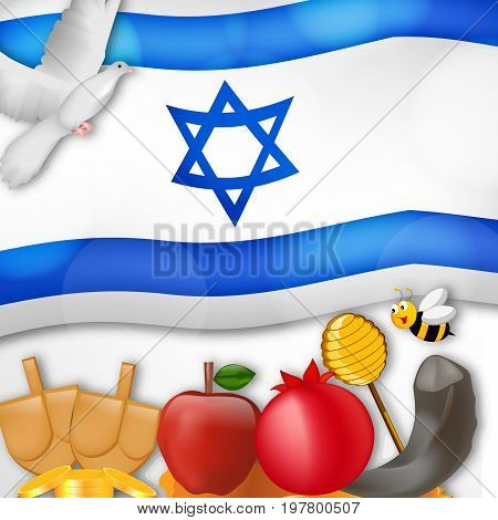 illustration of bee, pigeon, honey, apple, pomegranate, shofar and Israel flag background on the occasion of Jewish New Year Shanah Tovah. Translation: a good year