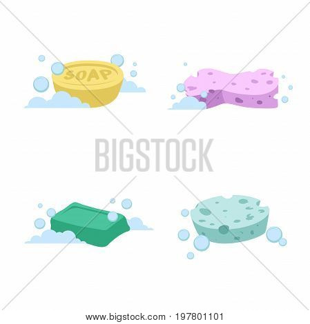 Trendy cartoon style bath and health care set. Yellow and green soap. Pink and green sponges with bubbles.