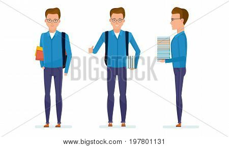 Set of character modern student. Education and training. Student prepares for classes, spends time in library, picks up necessary literature, in positive mood. Vector illustration in cartoon style.