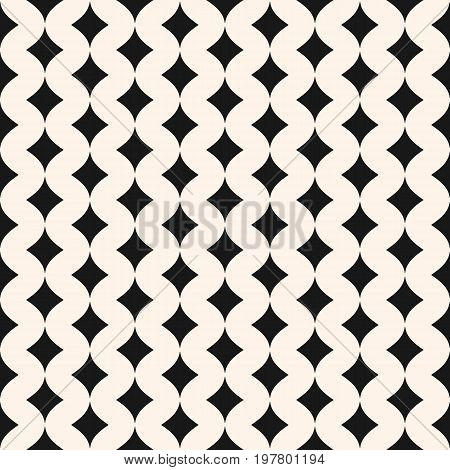 Art deco background. Seamless pattern. Simple stylish monochrome geometric texture with smooth shapes, small curved rhombuses. Diamond background. Elegant abstract background. Repeat tiles. Design for decor, textile, fabric. Rhombus pattern.