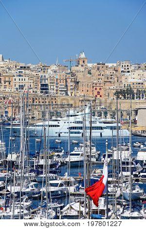 VITTORIOSA, MALTA - MARCH 31, 2017 - Elevated view of Vittoriosa marina with views towards Valletta Vittoriosa (Birgu) Malta Europe, March 31, 2017.