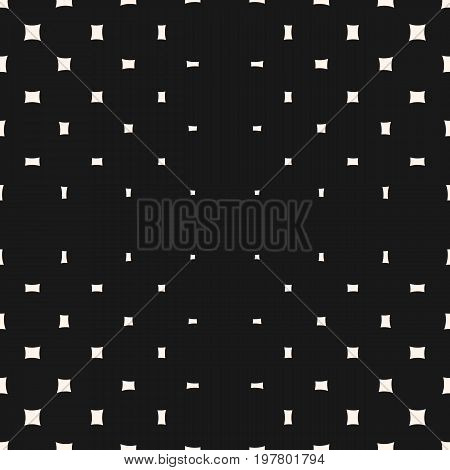 Vector geometric halftone pattern. Seamless texture with different sized rounded squares. Radial gradient transition effect. Minimalist abstract monochrome background. Dark design for decor, digital. Geometric pattern, square background.