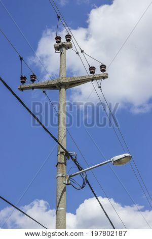 Concreet Electrical Pole With Power Lines  2