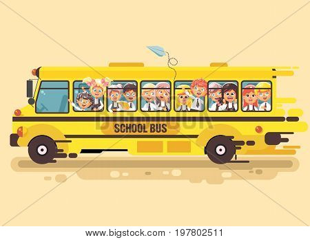 Stock vector illustration back to school cartoon characters schoolboy schoolgirls, pupils apprentices children riding school bus for tour training excursion travel journey yellow background flat style
