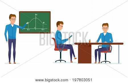 Set of character modern student. Education and training. Student in school class answers near blackboard, workplace, getting acquainted with materials, lessons. Vector illustration in cartoon style.