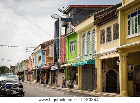 Phuket, Thailand - July 30, 2017: Chino-portuguese Style Building In Phuket Old Town.